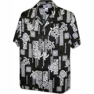 Island Honu Black Hawaiian Shirt