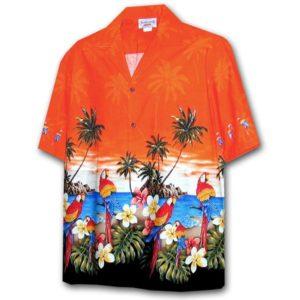 Parrot Island Orange Hawaiian Shirt