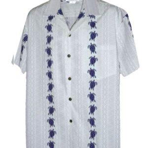 Turtle Panel White/Navy Hawaiian Shirt