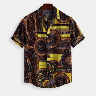 Gettyshirt  Mens Floral Tropical Printing Cotton Shirts Short Sleeve Loose Ethnic Style Breathable Casual Shirt