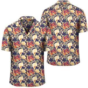 Hawaii Seamless Tropical Flower Plant And Leaf Pattern Background Hawaiian Shirt