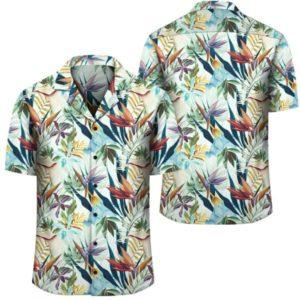 Hawaii Seamless Tropical Flower Plant And Leaf Hawaiian Shirt