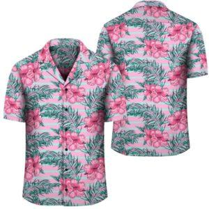 Hawaii Tropical Flowers Palm Leaves Hibiscus Strips Hawaiian Shirt
