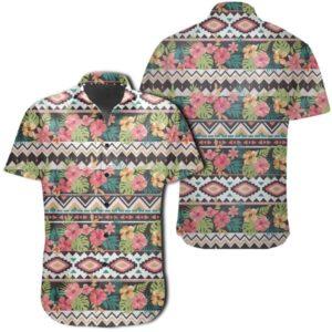 Hibiscus Ethnic Mix Tropical Flower Hawaiian Shirt
