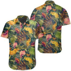 Seamless Tropical Flower Plant And Leaf Pattern Hawaiian Shirt