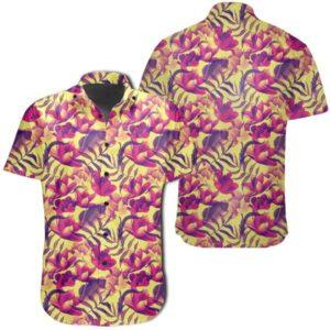 Seamless Tropical Flower Plant Pattern Background Hawaiian Shirt