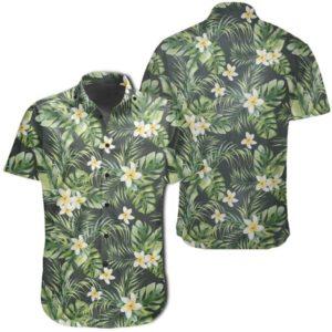 Hawaiian Shirt ? Summer Plumerias Flowers Palm Tree Monstera Leaves Shirt