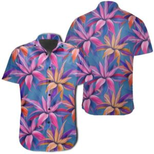 Tropical Flowers Pink Hawaiian Shirt