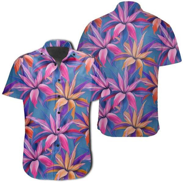 Tropical Flowers Pink Hawaiian Shirt
