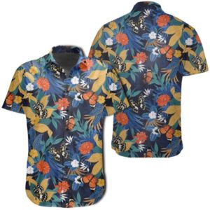 Tropical Buttterfly And Flower Hawaiian Shirt