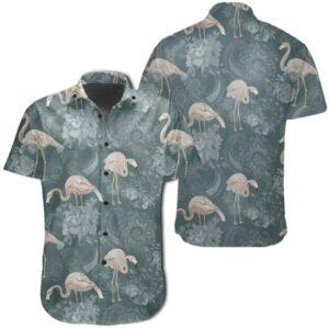 Tropical Flamingos And Tropical Plants Hawaiian Shirt