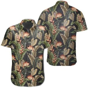 Tropical Floral Vintage Strelitzia Flower Banana Leaves Hawaiian Shirt