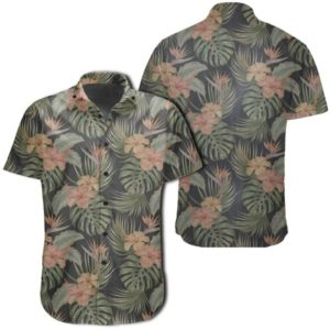 Tropical Hibiscus Monstera Leaf Hawaiian Shirt