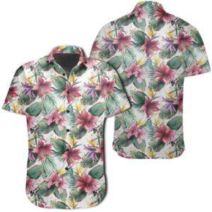 Tropical Palm Leaf White Hawaiian Shirt