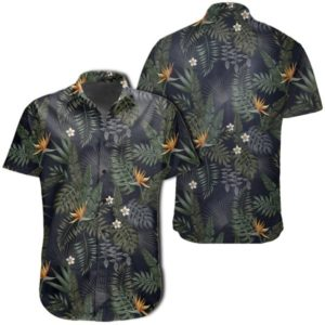 Tropical Leaves And Flowers In The Night Style Hawaiian Shirt