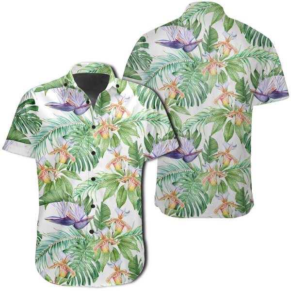 Tropical Orange Orchids Strelitzia Monstera Hawaiian Shirt