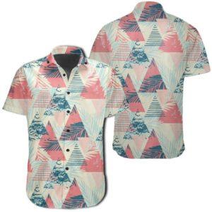 Tropical Leaf Triangle Pattern Hawaiian Shirt