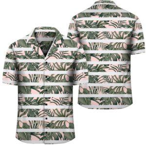 Hawaii Tropical Dark Green Leaves Seamless Pattern White Stripes Pink Background Hawaiian Shirt