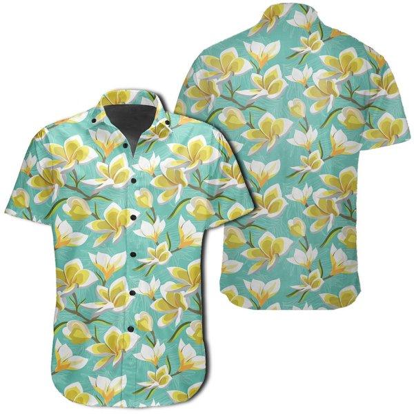 Tropical Plumeria Blue Hawaiian Shirt