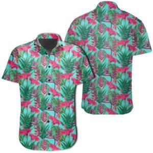 Tropical Strelitzia Blue Hawaiian Shirt