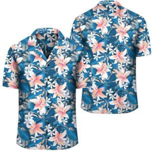 Hawaii Tropical Hibiscus Blue Hawaiian Shirt