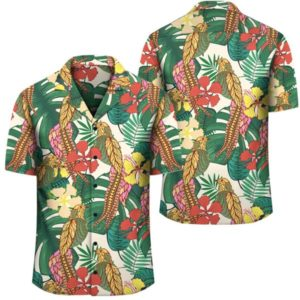 Hawaii Tropical Leaves Flowers And Birds Floral Jungle Hawaiian Shirt