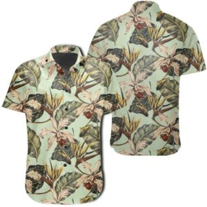 Vintage Tropical Jungle Leaves Orchid Bird Hawaiian Shirt