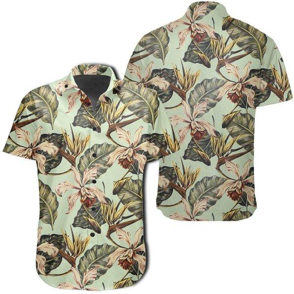Vintage Tropical Jungle Leaves Orchid Bird Hawaiian Shirt