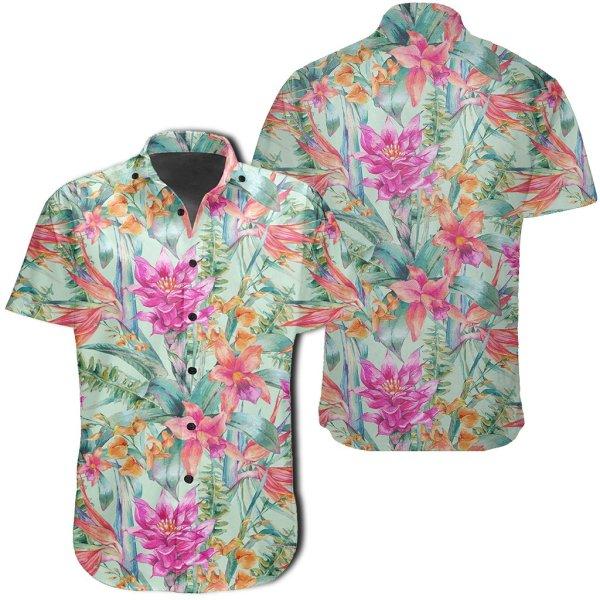 Watercolor Vintage Floral Tropical Bird Of Paradise Hawaiian Shirt