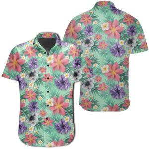 Hawaiian Tropical Flower Blossom Cluster Seamless Shirt