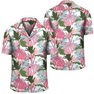 Pink Monstera And Green Tropical Leaves White Hawaiian Shirt