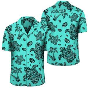 Polynesian Turtle Palm And Sea Pebbles Turquoise Hawaiian Shirt