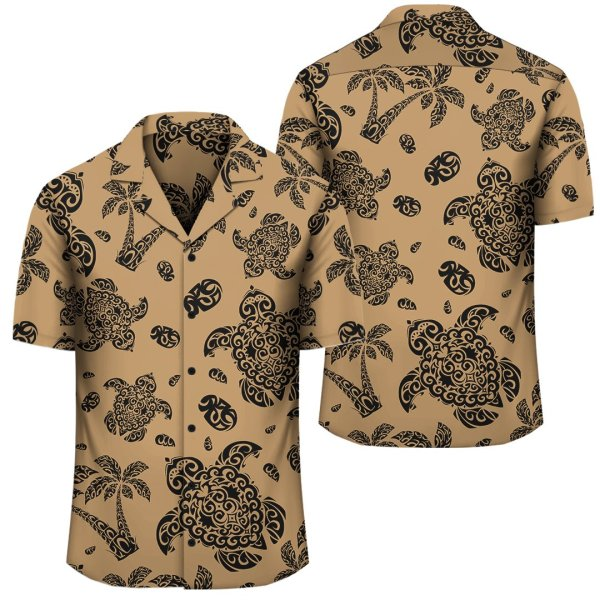 Polynesian Turtle Palm And Sea Pebbles Gold Hawaiian Shirt