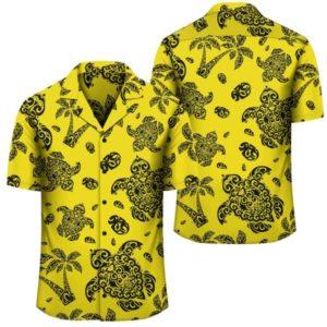 Polynesian Turtle Palm And Sea Pebbles Yellow Hawaiian Shirt