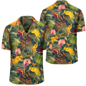 Seamless Tropical Flower Plant And Leaf Pattern Hawaiian Shirt