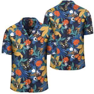 Tropical Buttterfly And Flower Hawaiian Shirt