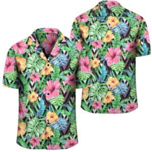 Tropical Hibiscus Banana Leafs Hawaiian Shirt