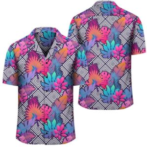 Tropical Exotic Leaves And Flowers On Geometrical Ornament Hawaiian Shirt