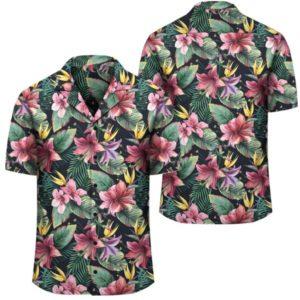 Tropical Flowers Palm And Leaves Hawaiian Shirt