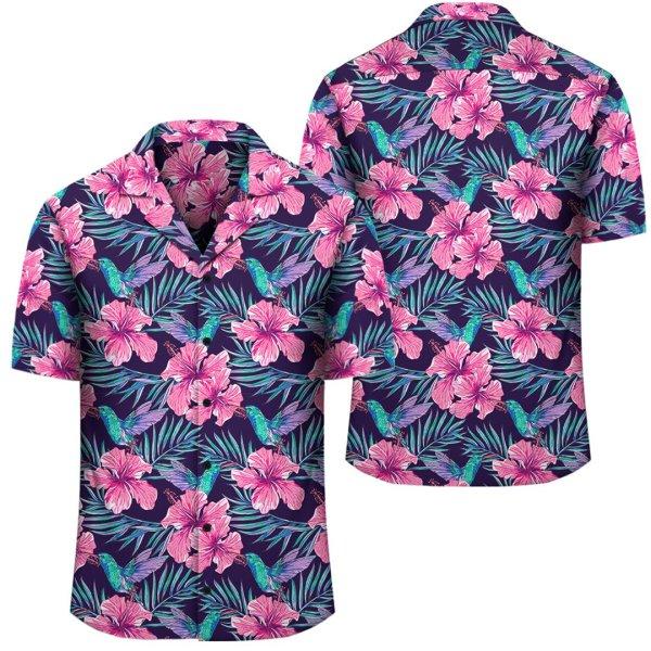 Tropical Flowers With Hummingbirds Palm Leaves Hawaiian Shirt