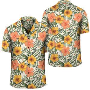 Tropical Flowers Hibiscus Pink Yellow Hawaiian Shirt