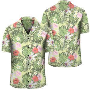 Tropical Hibiscus Plumeria Green Hawaiian Shirt
