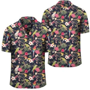 Tropical Hibiscus Strelitzia Palm Leaves Hawaiian Shirt