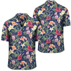 Tropical Hibiscus Red And Plumeria White Hawaiian Shirt