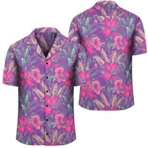 Tropical Hibiscus Purple Hawaiian Shirt