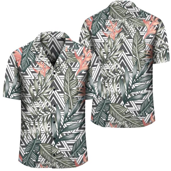 Tropical Palm Leaves And Flowers Hawaiian Shirt