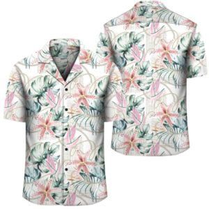 Tropical Pattern With Orchids Leaves And Gold Chains Hawaiian Shirt