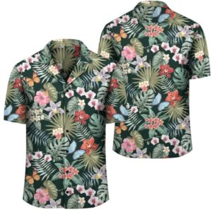 Tropical Plumeria Pattern With Palm Leaves Hawaiian Shirt
