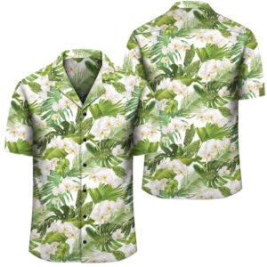 Tropical Plumeria White Hawaiian Shirt