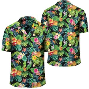 Tropical Pattern With Pineapples Palm Leaves And Flowers Hawaiian Shirt